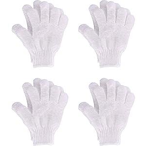 4 Paar Duschhandschuhe Schrubben Handschuhe Dual-seitig Peeling Handschuh Körper Bad Scrubs, Weiß