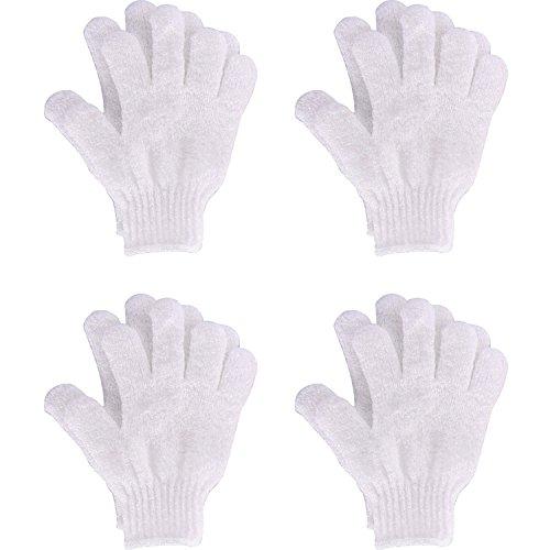 4 Pairs Gants de Douche Gants de Gommage Gants Exfoliants à Double Face Brosses de Bain pour le Corps, Blanc