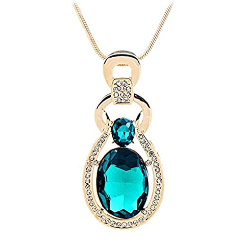 Diannaohigh–Grade Cristal Chandail de collier pendentif Bijoux Ornements, color blue
