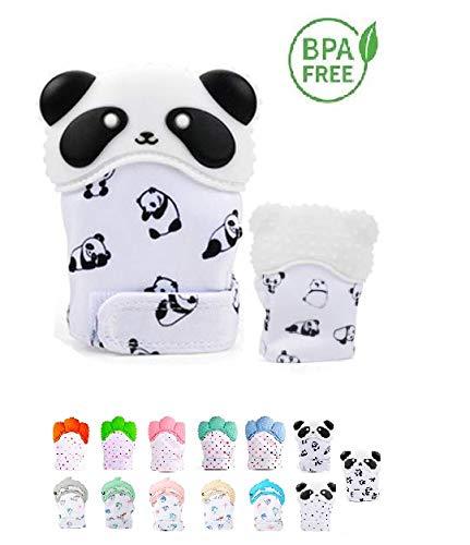 Funky Planet Gant de dentition Silicone, Gant de dentition Hygiénique, Silicone Mitaine de dentition pour le soulagement de la douleur auto-apaisant (panda)