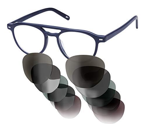 Sym Sonnenbrille mit wählbarer Sehstärke von -4.00 (kurzsichtig) bis +4.00 (weitsichtig) | Auswechselbare Gläser in 6 Farben | Für Damen & Herren (Unisex) | Modell 06 | Opaque Dark Blue-Black | Matt