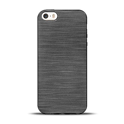 iPhone 4S , 4 Silikon Hülle, Conie Mobile Brushed Case Schlanke Schutzhülle TPU Handyhülle Backcover Rückschale in Schwarz Schwarz