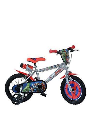 Avengers Kinderfahrrad Marvel Jungenfahrrad - 16 Zoll | Original Lizenz | Kinderrad mit Trinkflasche und Stützrädern - Das Fahrrad aus Avengers als Geschenk für Jungen -