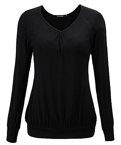 KorMei Femme T-shirt Haut Col V Casual Top Ample Manches longues 2XL Noir