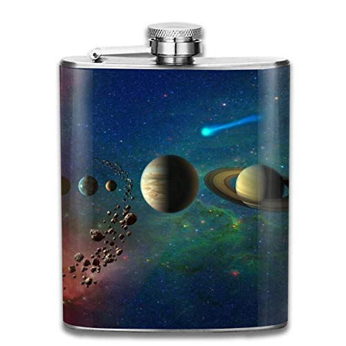 Eybfrre Solar System Planet Satellite Universe Retro Portable 304 Stainless Steel Leak-Proof Alcohol Whiskey Liquor Wine 7OZ Pot Hip Flask Travel Camping Flagon for Man Woman Flask Great Little Gift