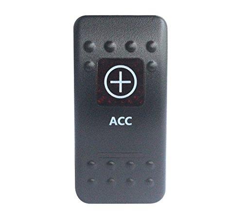 bandc 12V/24V ACC Rocker Schalter ON-OFF-SPST 5Pins Rot LED für Marine Grade Auto Boot RV Wasserdicht IP66 -