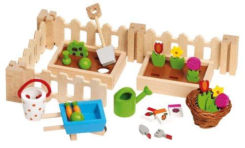 Goki - Accessori per la casa delle bambole: giardino con utensili da giardinaggio