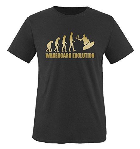 WAKEBOARD EVOLUTION - Kinder T-Shirt Schwarz/Gold Gr. 86-92