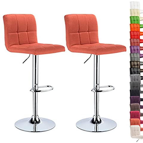 WOLTU 2x Bar Stools with Linen Fabric Seat Kitchen Counter Stool, Adjustable Swivel Gas Lift,Seat Height: 60-82cm,Orange,BH32or-2