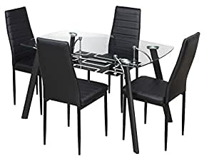 ... Royal Oak Milan Four Seater Dining Table Set (Black)