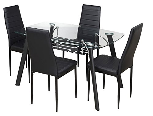 32 Royal Oak Milan Four Seater Dining Table Set Black