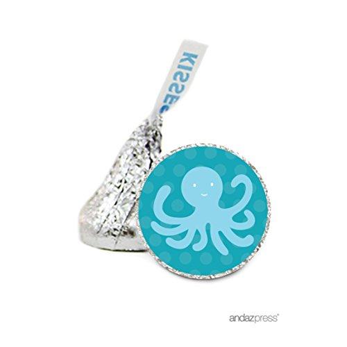 Andaz Drücken Schokolade Drop Etiketten Aufkleber, Geburtstag Nautical Octopus
