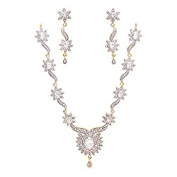 Geode Delight American Diamond Necklace Set for Women & Girls (White Diamond)