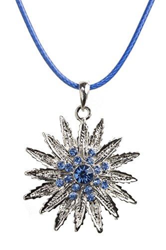 Trachtenkette Eiskristall - elegante funkelnde Kette mit Strass - Trachtenschmuck Edelweiss für Dirndl und Lederhose Damen (Blau)