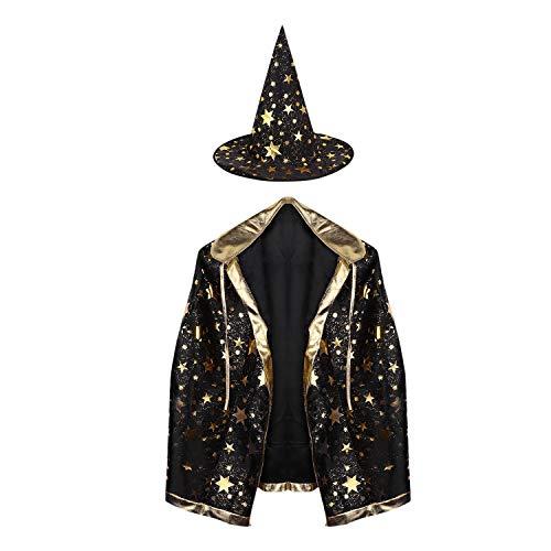 Märchen Kinder Kostüm Halloween - JINTN Halloween Cosplay Kinder Umhang Glänzende Sterne Mäntel Cape mit Kragen Zauberer Lange Kostüm Märchen Held Kostüm Robe mit Hut für Weihnachten Partei