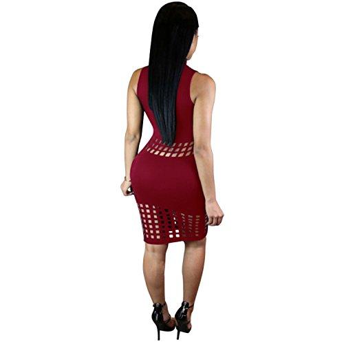 Senza Maniche Collo Alto Caged Scoperta Hollow Out Mini Bodycon Aderente Fasciante Vestito Abito Borgogna