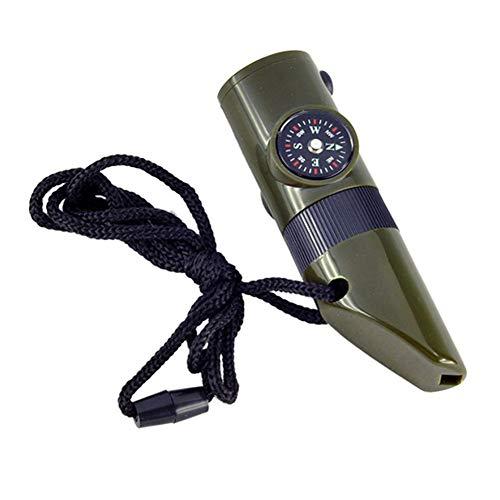 Ruiting 7 in 1 Pfeife Multi Funktions Werkzeug Lupe Taschenlampe Lagercontainer Kompass Thermometer Notsignalspiegel für Camping Outdoor Aktivitäten (Armee Grün) Zubehör für Musikinstrumente -
