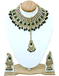 Fashion Jewelry Gold Plated Kundan Pearl Stylish Fancy Party Wear Wedding Necklace Set Traditional Jewellery Set...