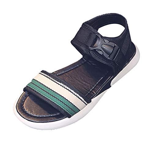 ✿Eaylis Damen Sandalen LäSsige Streifen Mit Offener Spitze Und Flachem Boden Sommer Strand Schuhe Hausschuhe Stilvoll und elegant