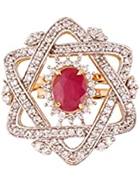 Grace Jewels AD And Ruby Star Cocktail Ring Red Pearl And White Diamond Designer