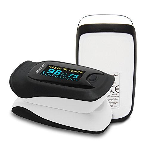 JUMPER Pulsoximeter mit Großem OLED Bildschirm Finger SpO2 Pulsmesser Pulsmessgerät zur Messung der Blutsauerstoffsättigung und Herzfrequenz (Schwarz)