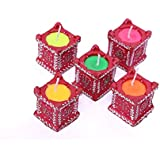 Om Craft Villa Traditional Tulsi Shape Diya Of Mitti/Clay/Terracotta (Candles) For Ganpati, Diwali, Puja, Festival Decoration & Lighting (Pack Of 4)
