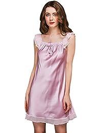 Tookang Mujer Pijama Sin Mangas Cordón Vestido Para Dormir Telas Lisas Talla Grande Camisón Suelto