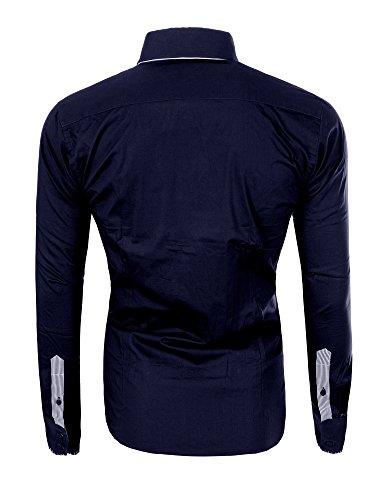 M475 RECAMICA Herren Regular Polo Club Shirt Hemd Langarm Figurbetont Clubwear Dunkelblau