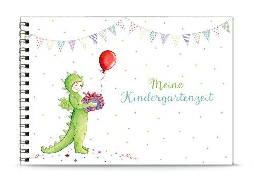 DIN A5 BÜCHLEIN (Spiralgebunden) MEINE KINDERGARTENZEIT DRACHE DINO GRÜN • Kleines Einschreibbuch für Erinnerungen im Kindergarten • Papier matt, unliniert