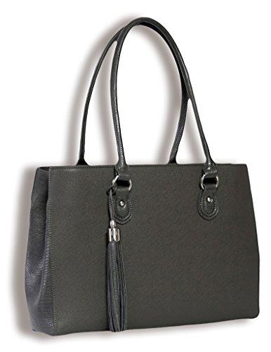 BfB Arbeits- Tote Bag – Leichte, handgefertigte Designer iPad und Laptop Damentasche - Grau - by My Best Friend Is A Bag (Hobo Bag Geprägte)