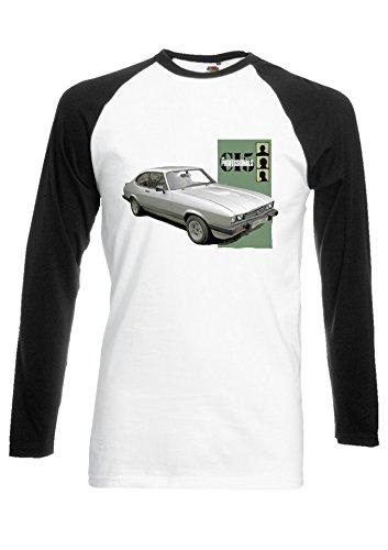 The Professionals Bodie's Ford Capri Mark III 3.0S 80s TV Black/White Men Women Unisex Long Sleeve Baseball T Shirt-S -