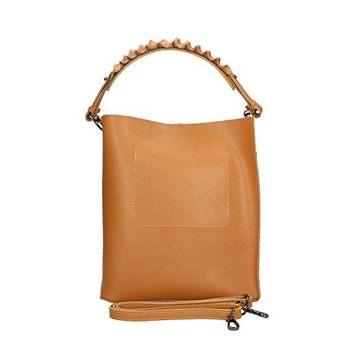 Chicca Borse Handbag Borsa a Mano in Vera Pelle Made in italy - 24x28x12 Cm Cuoio