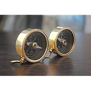 Ares India Solid Brass Pocket Compass Nautical Maritime - Set Of 2