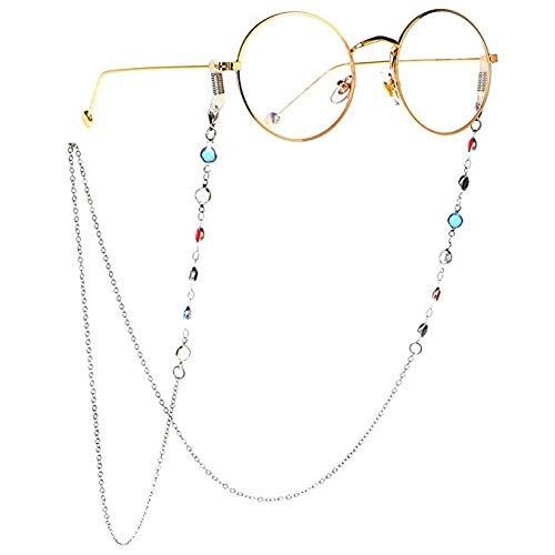 Hacoly Gläser Kette Sonnenbrille Gläser Kordel Lanyard Eyewear Retainer Lanyard Für Frauen Gläser Kordeln Gläser Lanyards Eyewear Retainer Outdoor Sportbrillenhalter(Silber)