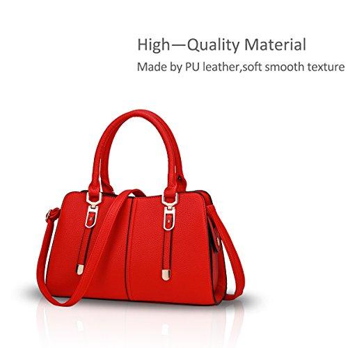 NICOLE&DORIS Donne borsa alla moda del messaggero della borsa della spalla del Tote casuale del lavoro sacchetto impermeabile Satchel rosso rosso