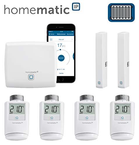 Homematic IP FUNK Heizungssteuerung zur Einzelraumregelung mit Smartphone App. Inhalt: Zentrale, 4 Funk Heizkörperthermostate, 2 Funk TürFensterkontakte. Sparen und wohlfühlen in Ihrem Smart Home.
