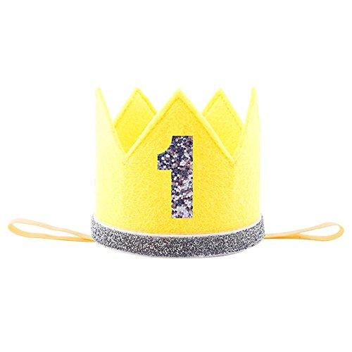 Adminitto88 Geburtstag Party Krone glänzend mit Prinzessin König Party Krone Hut Kuchen Smash Zubehör Foto für 1. Geburtstag 2 Geburtstag 3 RD Geburtstag gelb