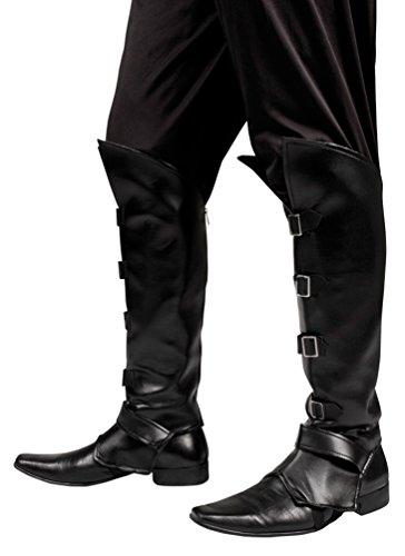 ,Karneval Klamotten' Kostüm Stulpen schwarz mit Schnallen Zubehör Karneval Pirat (Silber Stulpen Kostüm)