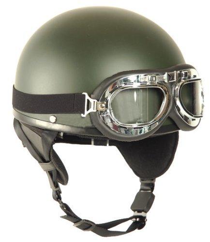 Mil-Tec Casco moto gafas Retro Vintage Oliva/S