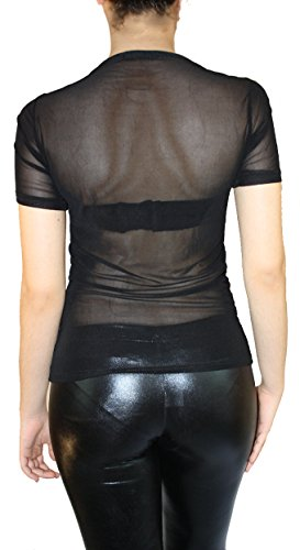 Maglia trasparente in tulle vintage da donna a manica lunga S M L Schwarz 02