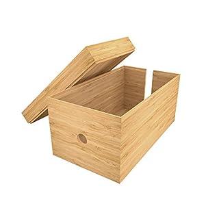 KD Essentials - Kabelbox aus Bambus - (14 x 25,4 x 14 cm, Ladestation Verkleidung, Kabel Organisieren, Naturmaterial)