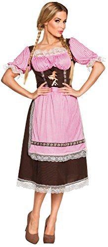 (Fancy Me Damen Gingham Oktoberfest Taverne Bier Mädchen Dirndel Nationalkostüm Kleid Kostüm Schuhe - Braun, UK 8-10)