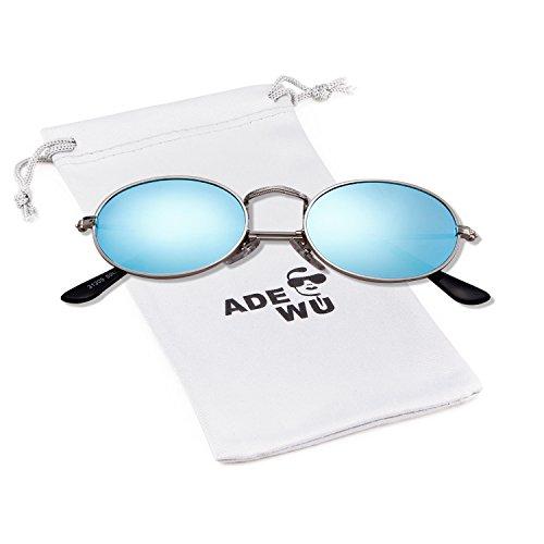 ADEWU Metall Oval Sonnenbrillen Unisex Mode Vintage Brillen Herren Damen