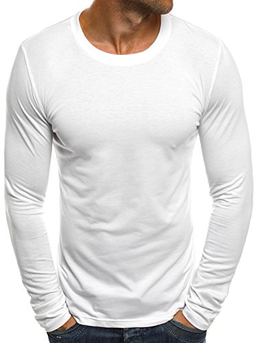 OZONEE Herren Longsleeve Langarmshirt Sweatshirt Motiv Basic Fitness Sport Gym Training Täglichen Crewneck Modern Streetwear J.Style 2088 XL WEIß