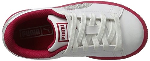 Puma Basket Iced Glitter 2 Ps, Sneakers Basses Mixte Enfant Blanc (White-silver)