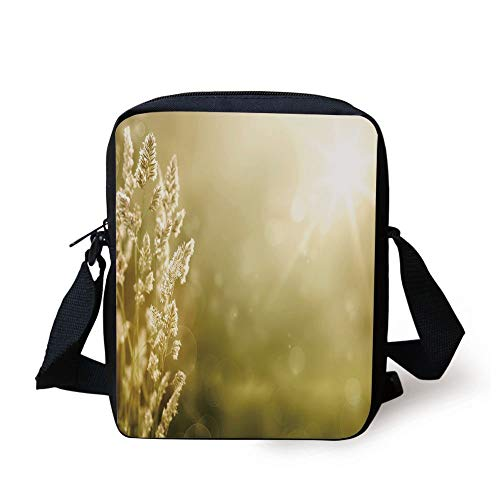 WITHY Fall Decor,Sunrise on Autumn Meadow Grass Field Nature Seasonal Scenic Forest View,Light Yellow Green Print Kids Crossbody Messenger Bag Purse (Coach Tablet-fall)