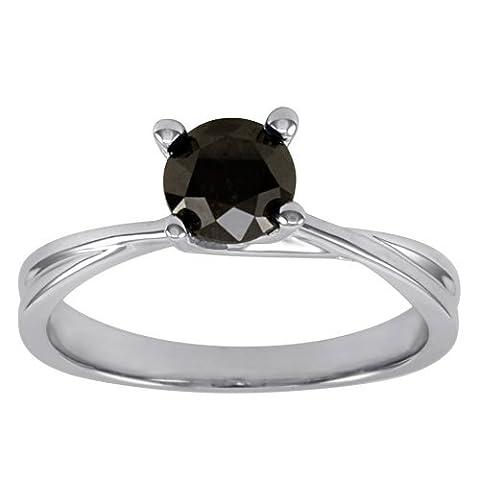Beautiful 0.75 Carat Black Diamond Four Prong Setting Solitaire Engagement