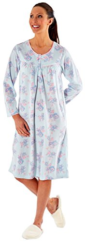 - 41YaoF8bmpL - Ladies Embroidered Soft Fleece Long Sleeve Nightie Nightwear Nightdress Plain or Floral Aqua or Pink