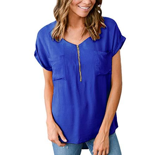 Womens Loose Fitting Zip Up V-Ausschnitt Kurzarm solide Bluse Tops Sommer Mode lässig T Shirt Tunika mit Zwei Taschen - Womens Hawaiian Shirt
