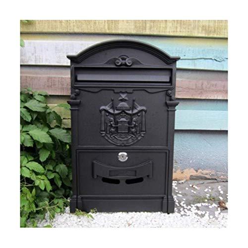 H.aetn Europäische Klassische Villa Mailbox Pastoralen Retro Wand Briefkasten wasserdichte Outdoor Post Mailbox Mit Schloss (Farbe: Schwarz)